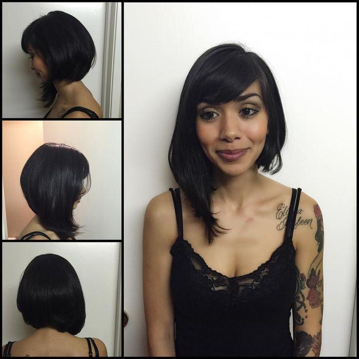 """""""From long hair to an asymmetrical bob #asymmetricalbob  #haircut #hairstylist…"""