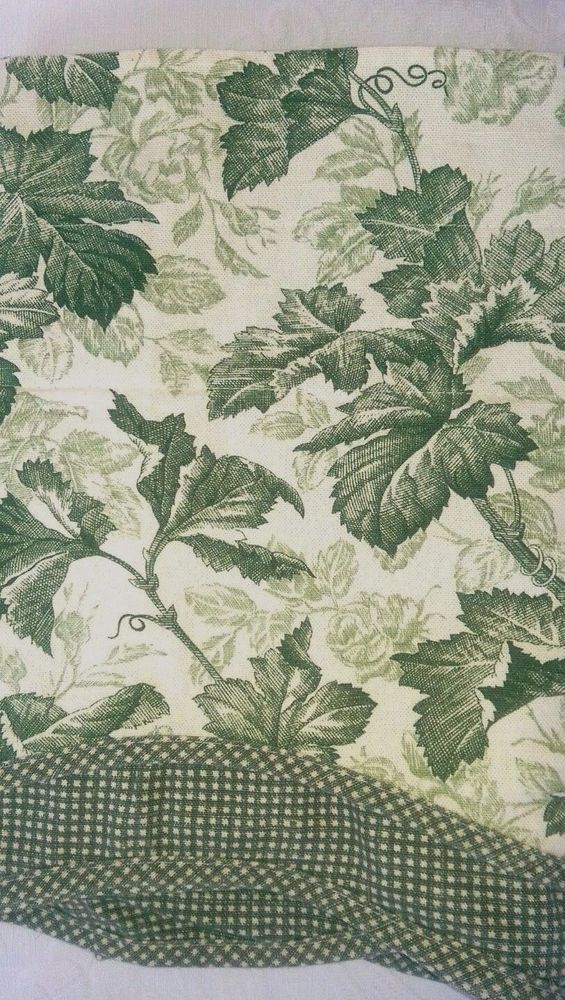 Waverly Valance w Gingham Underskirt Scalloped Green/Beige Leaves #Waverly
