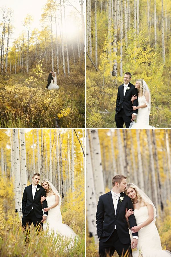 Fall wedding in Beaver Creek, Colorado. Fall Aspen Trees Bride and Groom Portraits on COUTUREcolorado WEDDING