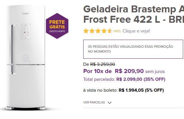 Geladeira Brastemp Ative! Inverse Frost Free 422 L - BRE50NB << R$ 189405 >>