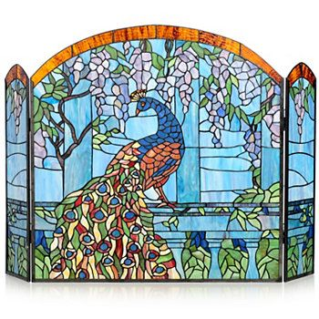 19 Best Images About Peacock Home Ideas On Pinterest Peacocks Stained Glass Fireplace Screen