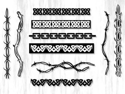 This pack includes 10 vector borders which can be used as seamless lines, seamless borders and frames.