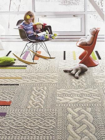 Amazing knitted carpet tiles!