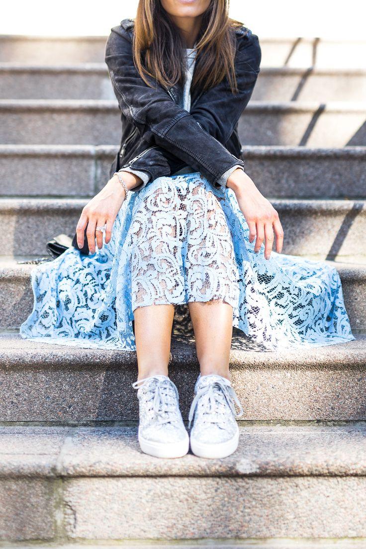 light blue, lace midi skirt, glitter shoes