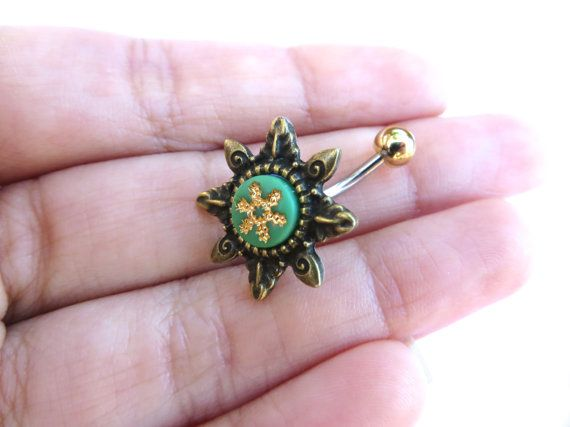 Starburst tribali verde ombelico anello Piercing di Azeetadesigns
