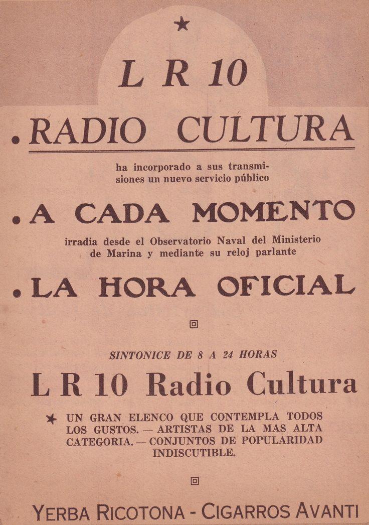 Publicidad de RADIO CULTURA, Buenos Aires, 1937.