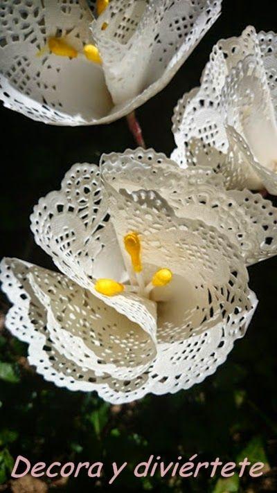 Flores utilizando blondas de papel , un DIY paso a paso muy fácil de hacer