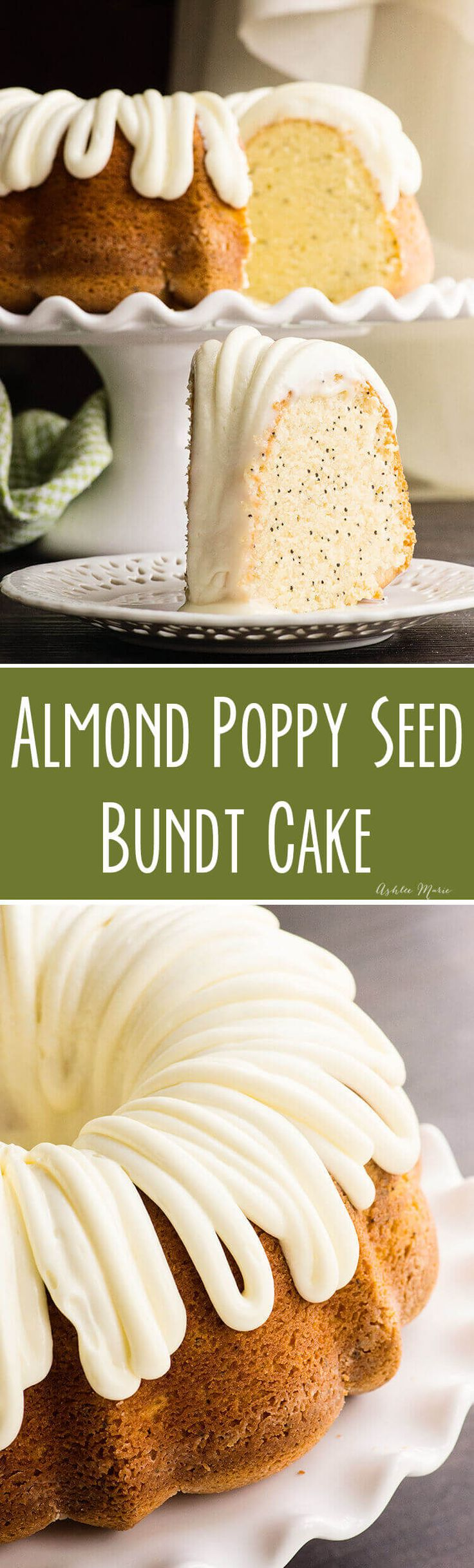 This almond poppyseed bundt cake is light and fluffy and has great texture and flavor - add the cream cheese frosting for a creamy sweet bite.