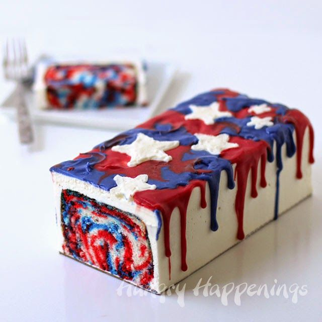 4th of July Dessert - Red, White and Blue Tie-Dye Cake - Hungry Happenings