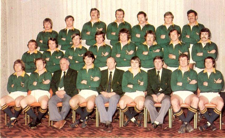 '76 - 4th test Springbok team with res. that played. Front row R-L Paul Bayvel Piston van Wyk Dr Jack Sweiden Morné du Plessis(Cap) Johan Claassen (Man) Peter Whipp  Ian Kirkpatrick (Coach) Moaner v Heerden Gerald Bosch Middle: Barry Wolmerans(R) Dawie Snyman (R) Boland Coetzee Ian Robertson; Chris Pope; Johan Strauss; Gerrie Germishuys; Robert Cockrell (Res). Back row: Gavin Cowley (R); Johan Oosthuizen; Kevin de Klerk; Klippies Kritzinger; Rampie Stander; Daan du Plessis; Thys Lourens (R).