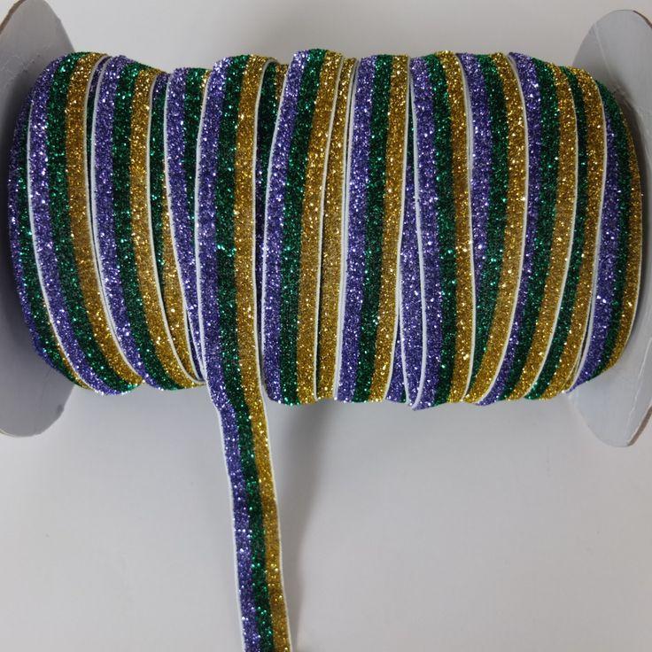 10 Yards Glitter Elastic bands 5/8 inch Glitter Purple/Green/Gold FOE Fold over Elastic Wholesale Headbands Hair band