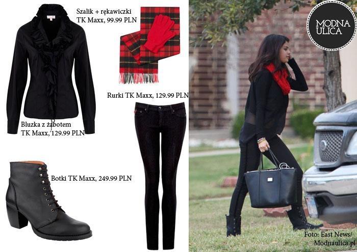 Dziewczyny, dzięki TK Maxx Wy również możecie wyglądać jak Selena Gomez. U nas znajdziecie: wąskie spodnie rurki, luźne bluzki, masywne, sznurowane botki i szaliki w wyrazistych kolorach.