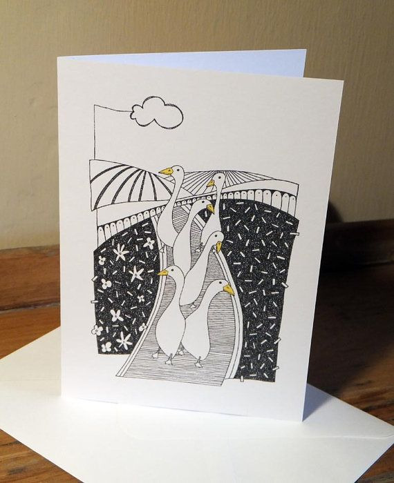 Quirky Runner Ducks Greeting Card from an original by EmmaGilesArt