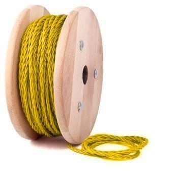 Kábel dvojžilový skrútený v podobe textilnej šnúry v žltej farbe je ideálny pre každé prostredie, domácnosť, kanceláriu alebo zásuvku.