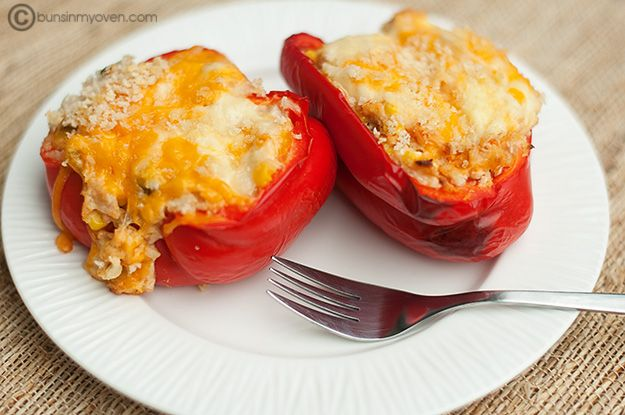 """I am going to make these tonight with ground turkey: """"Turkey and Cream Cheese stuffed bell peppers"""""""