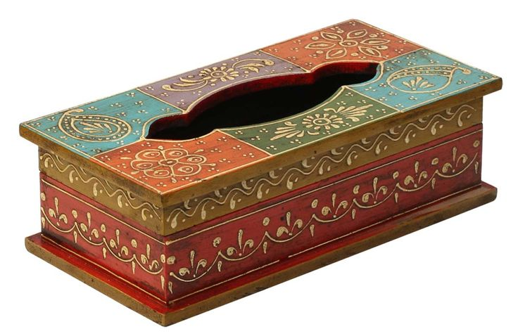 "Bulk Wholesale Handmade 10"" Wooden Tissue Box Holder in Orange, Blue, Violet, Green, Red Color with Old World Cone-Painting Art in Traditional Motifs – Kitchen / Dining Table Accessories from India"