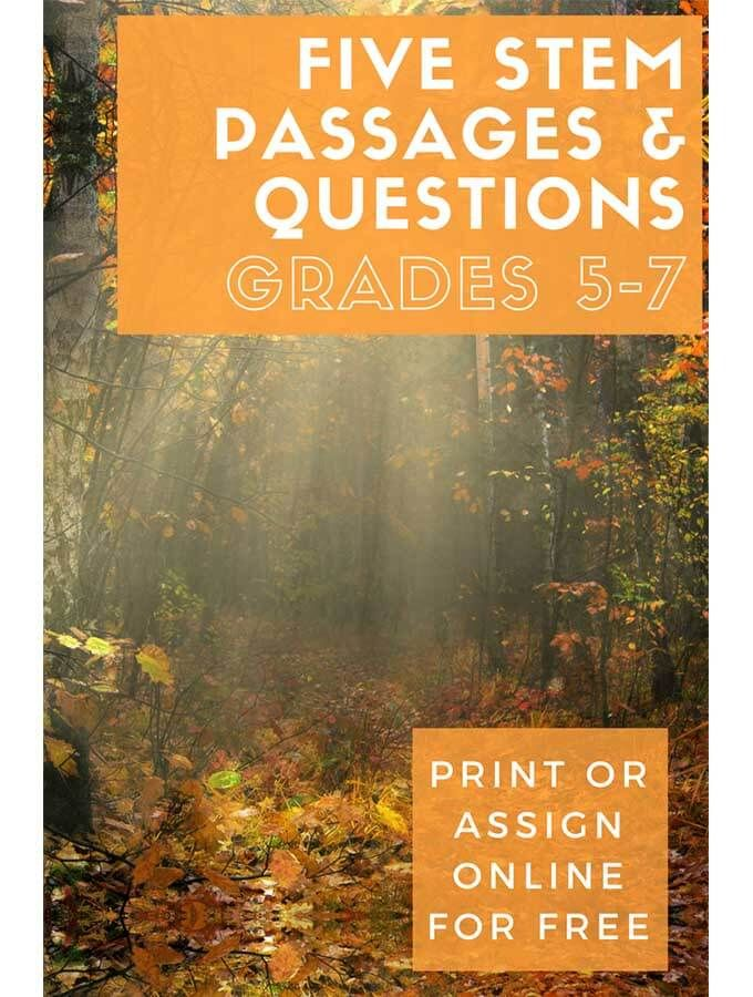 Five STEM Passages For Grades 5 7 Free Science Resources