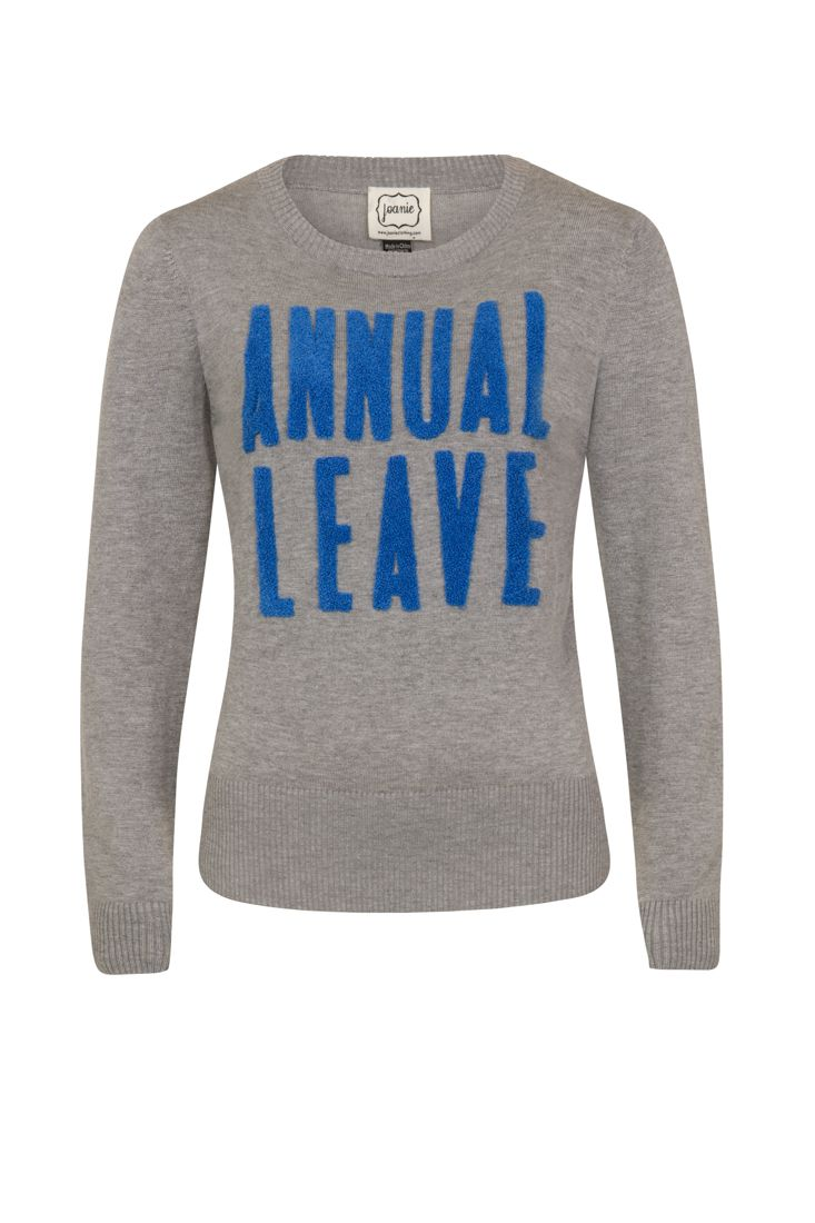 The Anita Annual Leave Slogan Jumper is a classic fitting, soft knitted jumper with rib detail trims and appliquéd bouclé letters.
