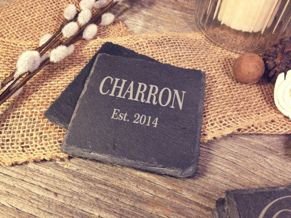 Slate Wedding Coasters w/Name & Date  Laser Etched by OTBengraving