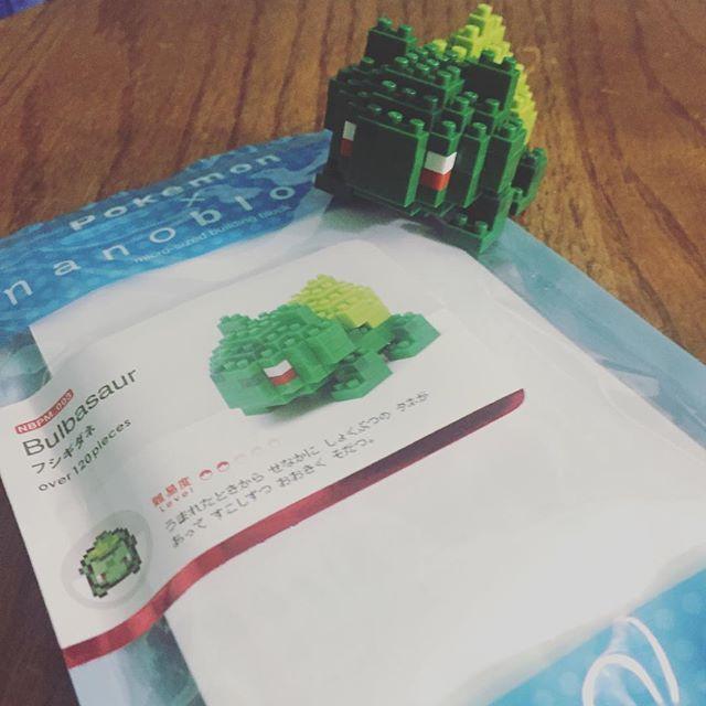 Yay! I built this baby Bulba with @jonjitsu88 . His engineering skills and my fine motor skills made this happen. #pokemonnanoblocks#pokemon#bulbasaur#pokemonnanoblock#nanoblock #kantostarter