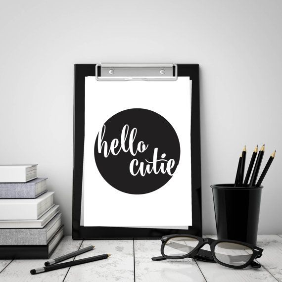 Hello Cutie Digital Download  Monochrome A4 by StaceyLeeLoves