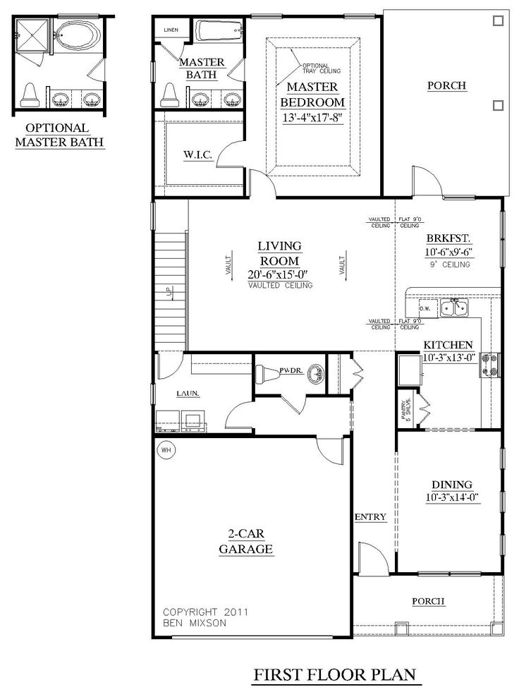 House plan 1997 hickory first floor plan empty nest for Empty nest house plans