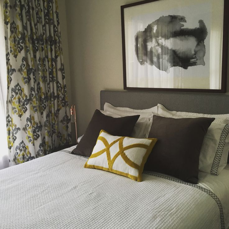 Grey and yellow in the guest room. Interior design and decoration by Brisbane design firm Kim Black Design www.kimblack.com.au