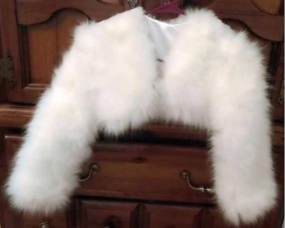 White/White Faux Fur Bolero/Shrug/Crop Jacket Fully lined-Long