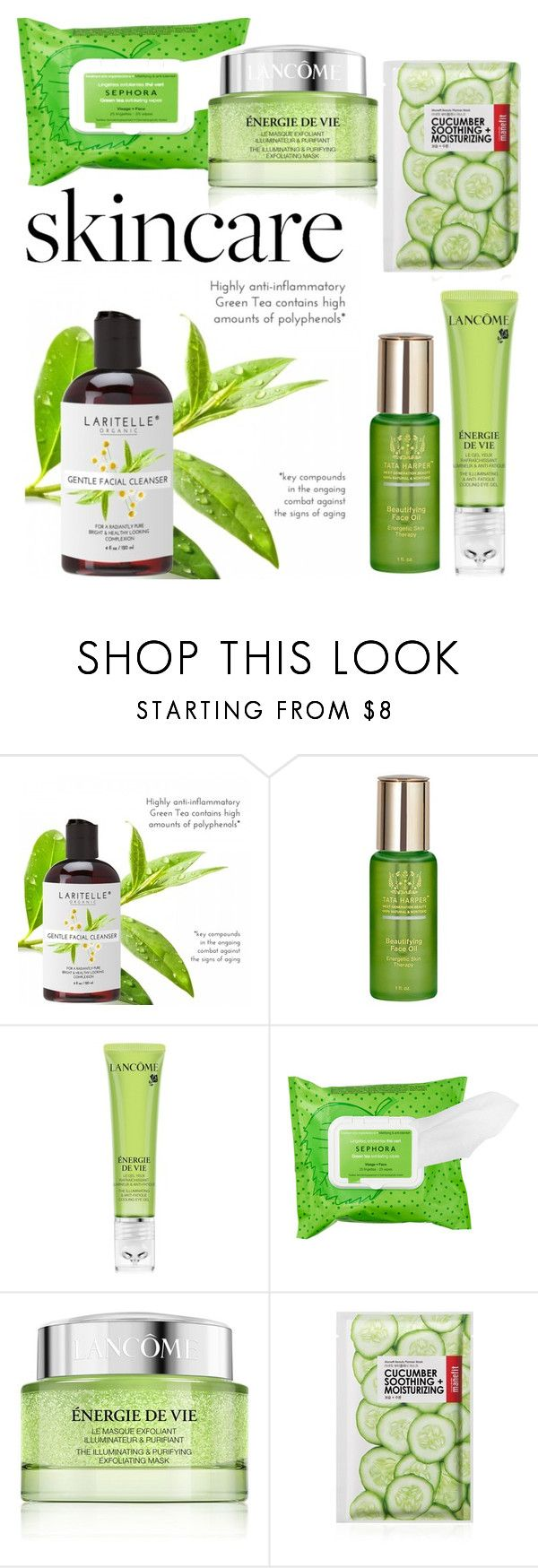 """""""#Skincare 💚"""" by gomes21 ❤ liked on Polyvore featuring beauty, SkinCare, Tata Harper, Lancôme, Sephora Collection and Forever 21"""