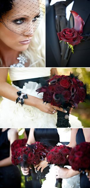 I'm really starting to like the idea of a more gothic red and black wedding theme.