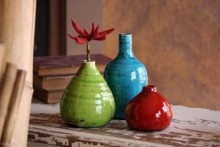 "Selected in a group of three sporting lush hues of green, turquoise and red~ these bud vases will work great as a gift and you'll be able to keep one for yourself!  Fill them with floral clippings from your walk with the dog.    The largest measures 3.5"" in diameter x 7"" tall.  http://groovyinclinations.com"