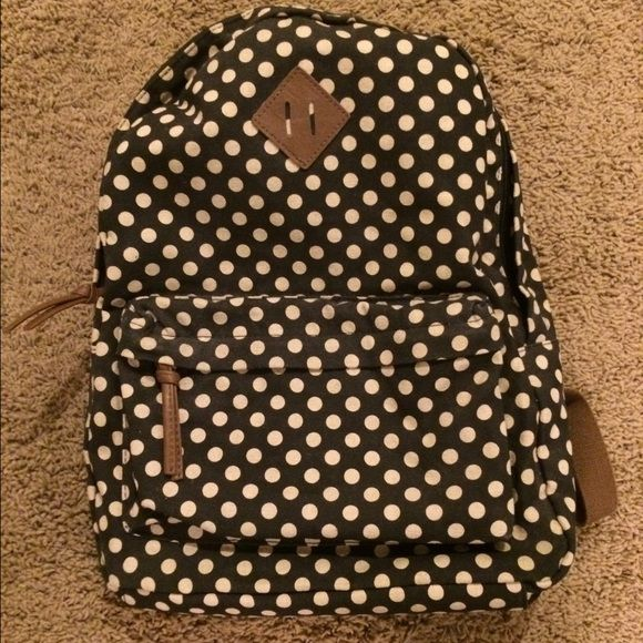 BRAND NEW Cute Polka Dot Backpack New without tags! Cute polka dot backpack. Never used. Navy blue, cream polka dots and tan straps. Bags Backpacks