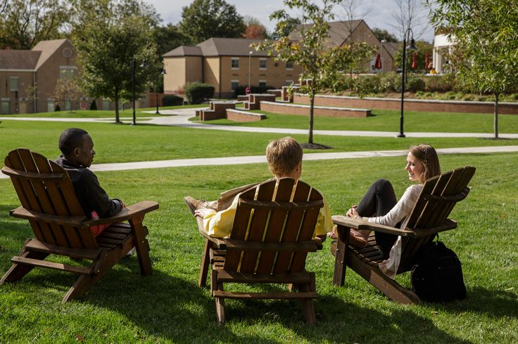 The quad on #Alvernia's campus is a great place to catch up with friends on the iconic #adirondack chairs! Just sit back and relax after a long day of classes!