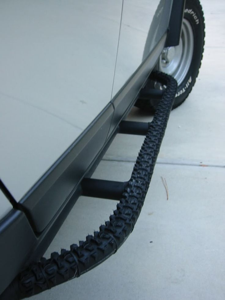 Mountain Bike Tire Used For Traction On A Rock Slider