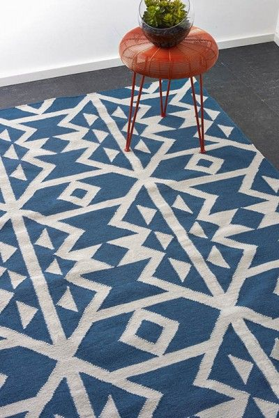 Mykonos - A vibrant blue and natural white design flatweave NZ wool rug.  Available to see in store now and available to order in the following sizes:  160 x 230, 200 x 290, 250 x 350