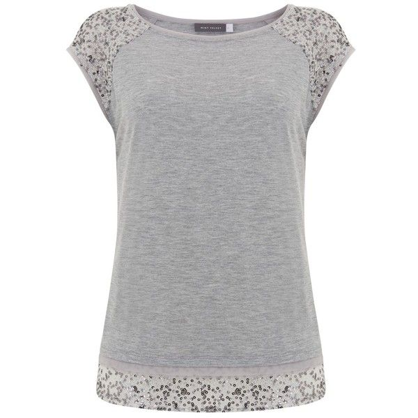 Mint Velvet Layered Sequin T-Shirt, Silver (105 AUD) ❤ liked on Polyvore featuring tops, t-shirts, sequin top, layered tops, layering tees, embellished t shirts and round neck t shirt