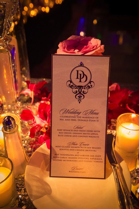 Purple wedding menu cards, complete with a customized monogram. (use our monogram instead and the same black stationary as the invites)