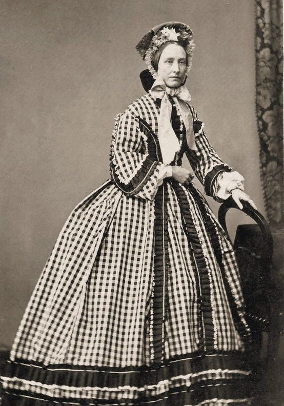 +~+~ Antique Photograph ~+~+  Amazing dress on woman during the Civil War time period.