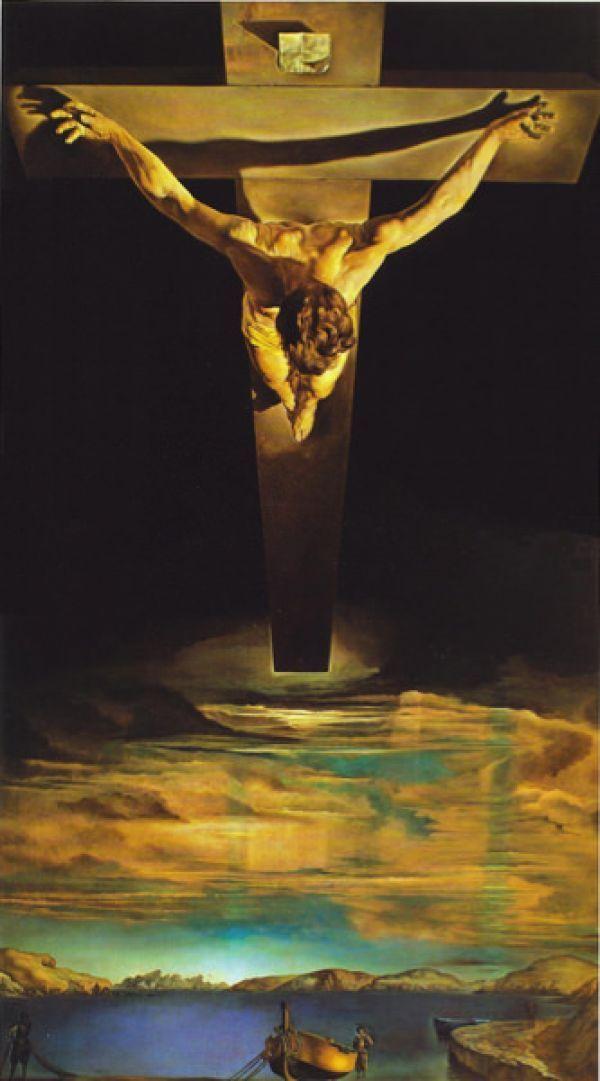 Reproduction de Dali, Christ de st Jean de la Croix. Tableau peint à la main dans nos ateliers. Peinture à l'huile sur toile.