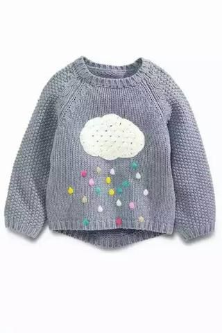 2016 New Girls Baby Sweater little princess Cartoon clouds rain rainbow pullover sweater wholesale