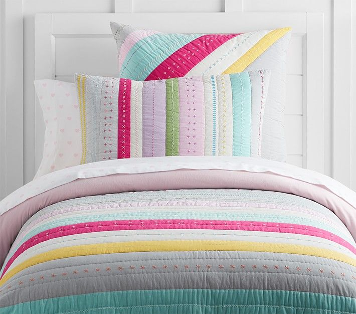 bright stripe quilted bedding pottery barn kids