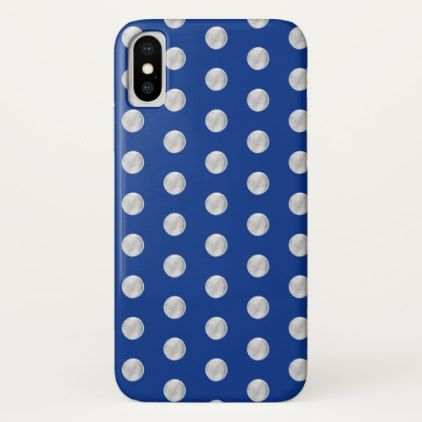 Silver polka dots on a royal blue background. iPhone x case - elegant gifts gift ideas custom presents