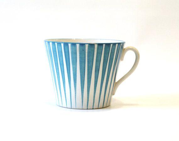 Rare Blue Zebra Pattern Mug by Eugen Trost for Upsala Ekeby Sweden