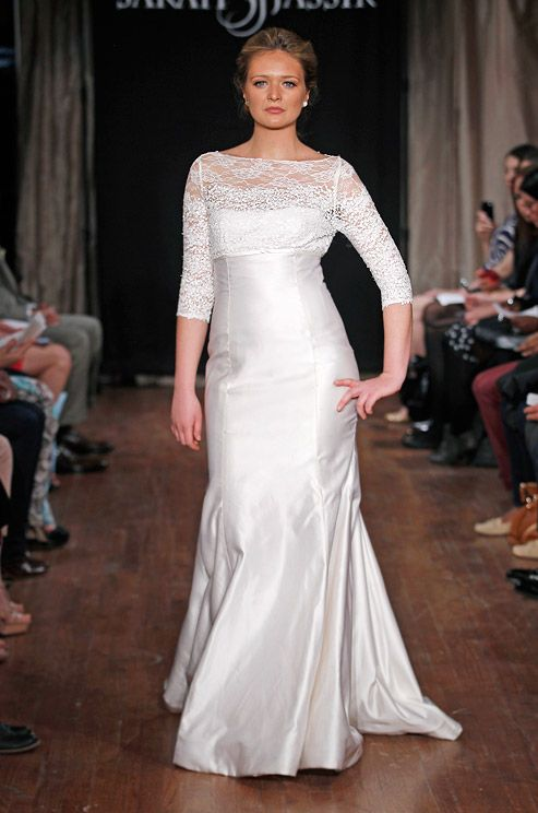 This #wedding dress from Sarah Jassir is great for a mature bride