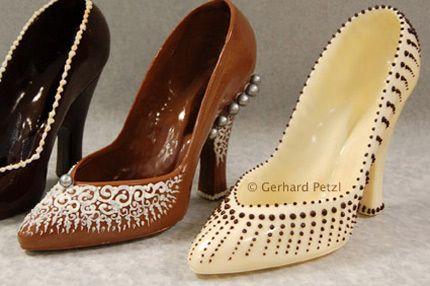 "Sarah Pinto Navarro. A Big ""W"" !Chocolate shoe sculptures                                                                                                                                                                                 More"