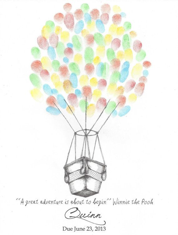 Hot Air Balloon Baby Shower Finger Print Guest Book, Baby, Wall Art, Pen and Ink Print, Drawing, Custom Printable Design