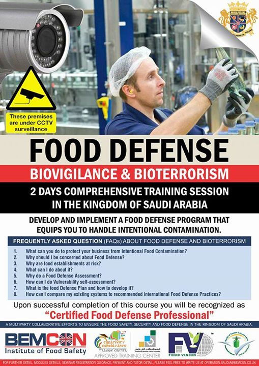 "1. Do you want to conduct the Food Deference Assessment of your operation   2. Are you targeting to develop Food Defense Plan for your operation as per BRC FSSC 22K IFS and other GFSI Approved Food Safety Management Systems   3. Do you want to be a ""Certified Food Defense Professional""   Then   Join us as per the detail posted"
