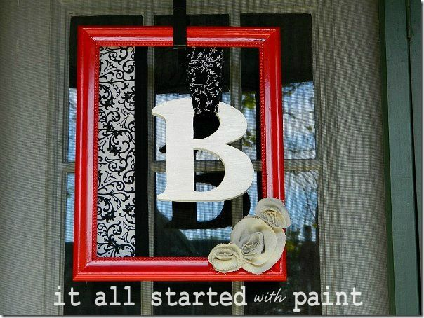 #springintothedream  My Front Porch:  DIY Monogram Picture Frame Mirro