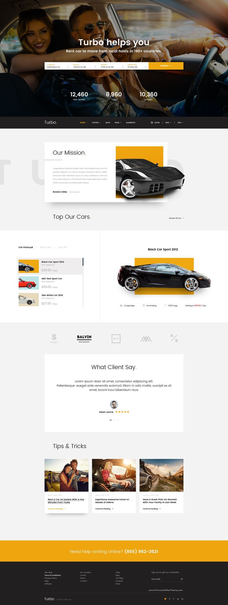 Turbo is a Car Rental PSD Template designed with Grid-Based Approach. With modern and creative design, you can convert this template to CMSs like WordPress, HTML, Joomla or other systems for car rental and booking website. #automobile #rental #psdtemplate