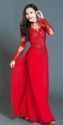 ao dai red lace - Google Search